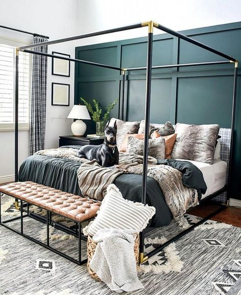 Cheap Home Decor DIY board & batten in the master bedroom.Cheap Home Decor DIY board & batten in the master bedroom Metal Canopy Bed, Canopy Bedroom, Large Bedroom, Home Bedroom, Bedroom Furniture, Bedroom Ideas, Modern Canopy Bed, Master Bedroom Decorating Ideas, Black Canopy Beds