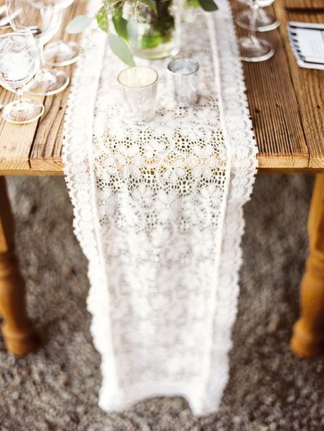Lace Table Runner | Barn Wedding |  Erich McVey Photography