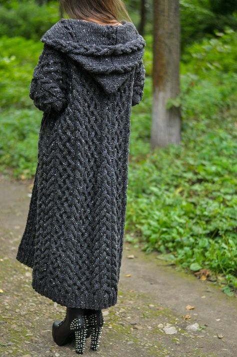 Knitted women cardigan coat pockets and a hood, cardigan coat handmade work, very pretty model for w