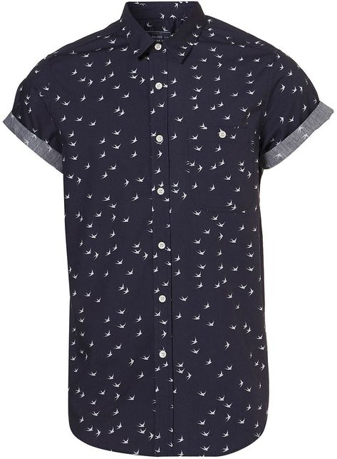 Navy Swallow Print Short Sleeve Shirt - Sale Shirts - Sale & Offers - Sale & Special Offers - TOPMAN