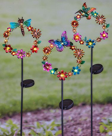 Solar Floral Wreath Garden Stakes Unique Garden Decor Hippie Garden Fun Garden Decor