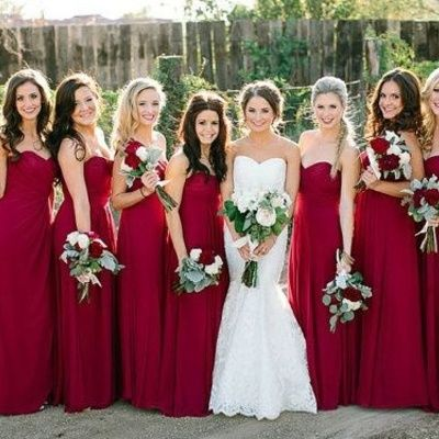 China Bridesmaid Party Dresses Suppliers New Arrival Dress A Line Sweetheart Chiffon Pleat Deep Red Long Wedding