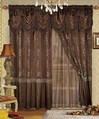 Details About 5 Pc Brown Gold Embroidered Window Set Curtains