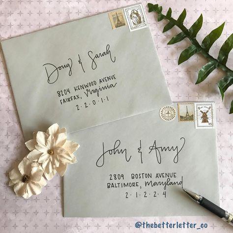 Hand Lettering Envelopes, Mail Art Envelopes, Calligraphy Envelope, Envelope Art, Envelope Design, Handwritten Letters, Wedding Envelopes, Addressing Envelopes, Wedding Invitations