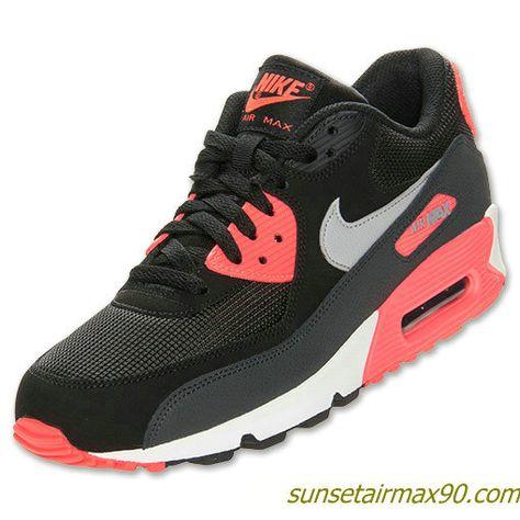 buy popular b6a0c ec682 Nike Air Max 90 Essential Mens Black Wolf Grey Atomic Red 537384 006