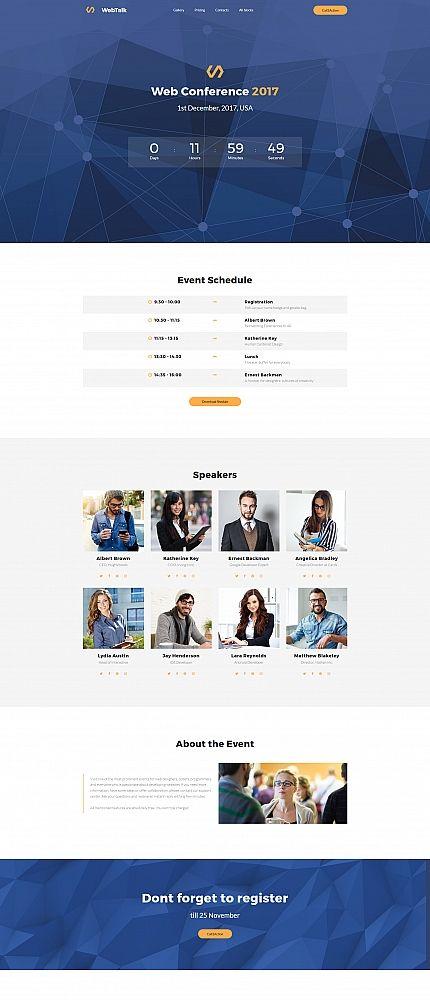 Web Talk Conference Motocms 3 Landing Page Template Wordpress Website Design Event Landing Page Web Hosting Website