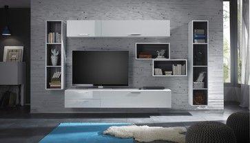 modern tv fireplace entertainment center   Modern Wall Unit TV Media ...