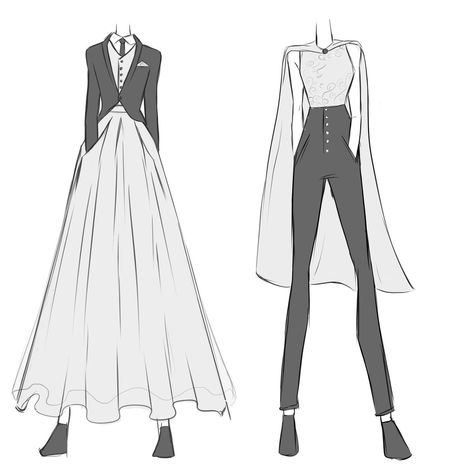 Wedding wears for androgynous/nonbinary/genderfluid people - Wedding wears for . - dresses Summer - Wedding wears for androgynous/nonbinary/genderfluid people – Wedding wears for androgynous/nonbi - Prom Outfits, Anime Outfits, Fashion Outfits, Fashion Ideas, Fashion Design Drawings, Fashion Sketches, Tux Dress, Dress Pants, Androgynous Fashion