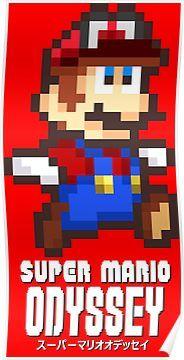 Super Mario Odyssey Pixel Art Poster Super Mario Art