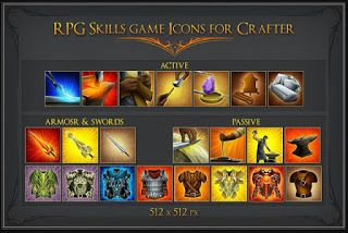 RPG SKILL ICONS FOR CRAFTER, BLACKSMITH AND GNOME - Free