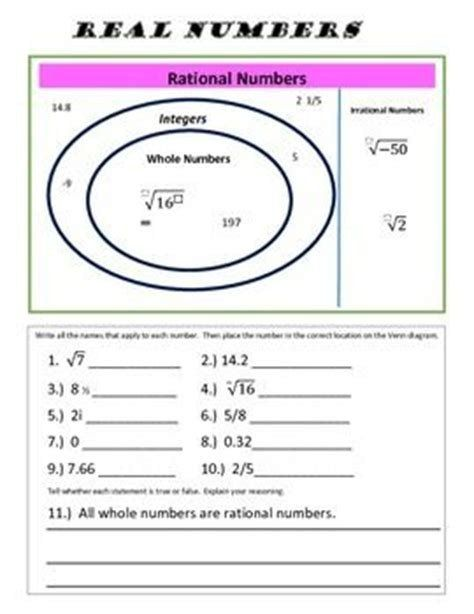 Classifying Real Numbers Worksheet Classifying Rational And Irrational Numbers Worksheet Answers In 2020 Math Number Sense Number Worksheets Real Numbers Rational and irrational worksheets