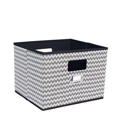 Household Essentials 13 In X 10 In Deluxe Open Storage Bin With Cutout Handles In Black Chevron 651 Storage Bins Decorative Storage Bins Fabric Storage Boxes