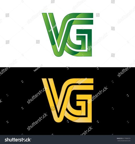 Initial Letter Vg Linked Design Logo In Green Color Lettering Logo Design Initial Letters