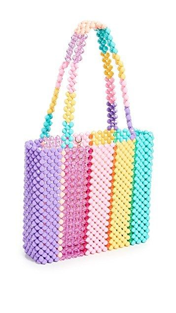 Womens Handband 100/% Handmade Beaded Bag Crystal Cute Rainbow Basket Clutch Bag