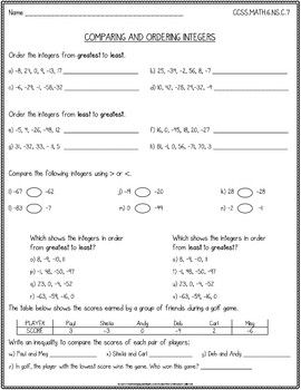 Comparing And Ordering Integers Worksheet Free Ccss 6 Ns C 7