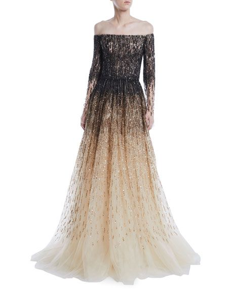 7d7a43b95b Pamella Roland Off-the-Shoulder Ombre Sequin & Crystal-Beaded Tulle ...