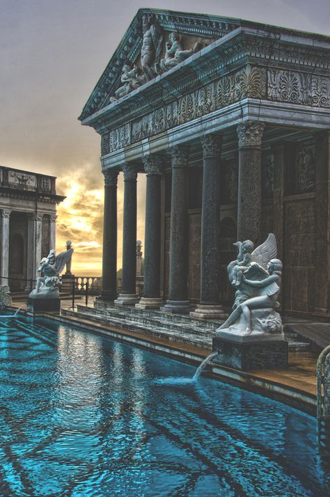 Neptune Pool, The Hearst Castle, San Simeon, California Architecture Baroque, Ancient Architecture, Beautiful Architecture, Beautiful Buildings, Architecture Design, Beautiful Places, Russian Architecture, San Simeon, Travel Aesthetic