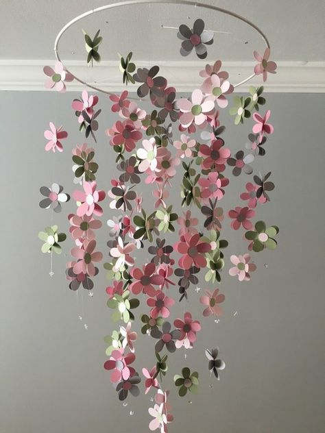 This mobile is made with a simple hoop ring and two different shades of pink ( fussy and tutu), Lilly pond and light gray flowers randomly place, so no two mobile are the same. Each line in this mobile is ended with a 6mm Bicone Swarovski crystals. Each flower measure just under 2 inch. This mobile