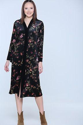 Siyah Desenli Kadife Elbise Elbise Elbise Modelleri Kadife