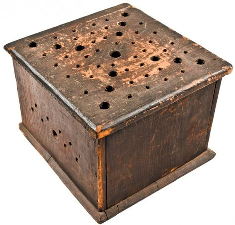 c. 1760 Mid 18th Century Colonial Era, Original Painted Wooden Foot Warmer, Choice Very Fine.This is an original pre-1800, likely Mid 18th Century, Handmade in native White Pine and Red Oak of the type found in Connecticut.