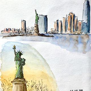 New York City Love Watercolor Painting Wanderlust By Lana Moes