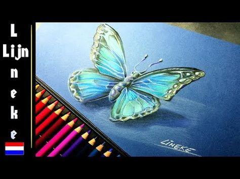 Hoe teken je een Vlinder in kleur met Pastel potlood ...