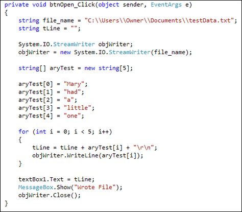 Example of C# code like I have written Things from my 40 year - cobol programmer resume