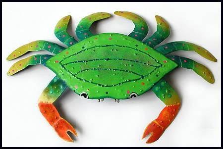 Nautical Wall Art Crab Painted Metal Crab Wall Hanging 15 X 21 Tropical Wall Decor Outdoor Metal Wall Art Metal Crab