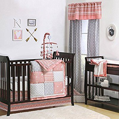 Amazon Com Woodland Pixie Coral And Grey Baby Crib Bedding 20