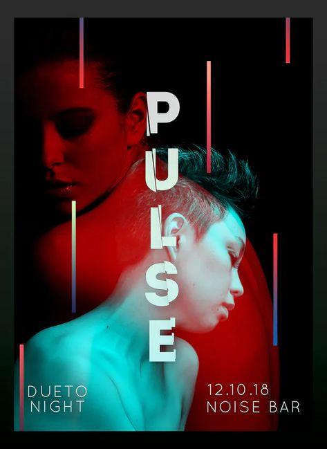 Pulse Dueto Night Flyer Poster Design PSD