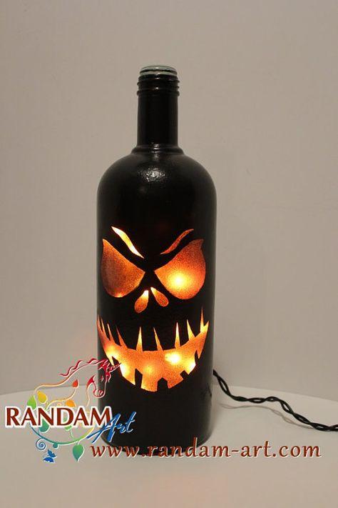 Halloween jack o lantern painted Wine Bottle Light by RandamArt diy fall wine bottle crafts - Diy Wine Bottle Crafts Fall Wine Bottles, Halloween Wine Bottles, Wine Bottle Art, Painted Wine Bottles, Lighted Wine Bottles, Diy Bottle, Bottle Lights, Wine Bottle Lanterns, Glass Bottles