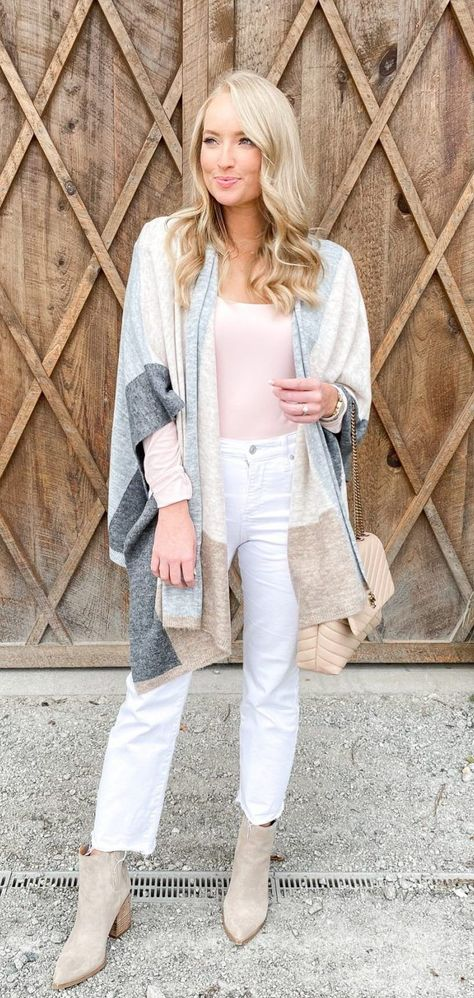 Striped cardigan + white jeans