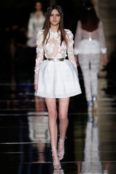 غلامور فساتين للمصمم العالمي زهير مراد فساتين سهرة وخطوبة الرياض Long Sleeve Lace Cocktail Dress Elegant Ball Gowns White Short Dress
