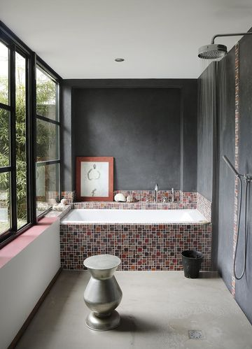 10 best baignoire carrelee images on Pinterest Bathrooms, Soaking - faience ardoise salle de bain