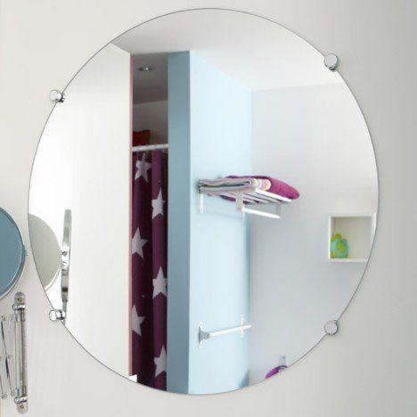 Miroir Non Lumineux Decoupe Rond L 60 X L 60 Cm Poli Amenagement Salle D Eau Miroir De Salle De Bain Miroir Salle De Bain
