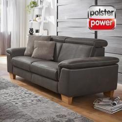 Polsterpower 2 5 Sitzer Ledersofa Grau Mit Relaxfunktion Roller In 2020 Ledersofa Grau Ledersofa Grau