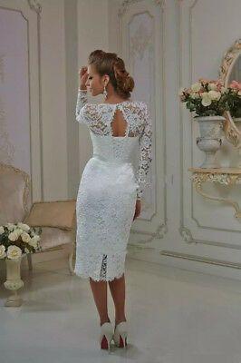 Vintage White Sheath Long Sleeves Wedding Dresses Tea Length Lace Bridal Gowns