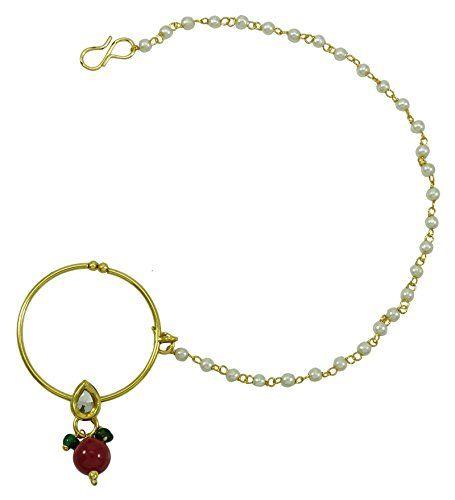 Banithani Anneau de cha/îne Ortone nez traditionnel Nath Hoop Bijoux cadeau versez elle