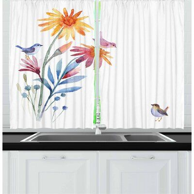 East Urban Home Ambesonne Watercolor Kitchen Curtains Springtime