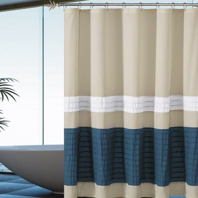 Breakwater Bay Alia Pleated Single Shower Curtain Fabric Shower