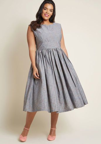 Fabulous Fit And Flare Dress With Pockets In Grey Plaid Plus Size Vintage Dresses Midi Dress Plus Size Fit N Flare Dress
