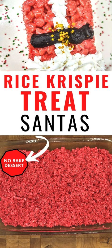 Nothing says Christmas like Santa. This easy, no bake recipe for Santa Rice Krispie Treats is sure to get you in the holiday spirit! #nobakedesserts #easydesserts #ricekrispietreats #christmas #christmassnacks
