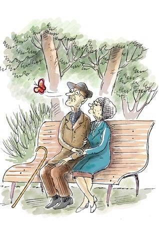 Sketch hochzeit altes ehepaar