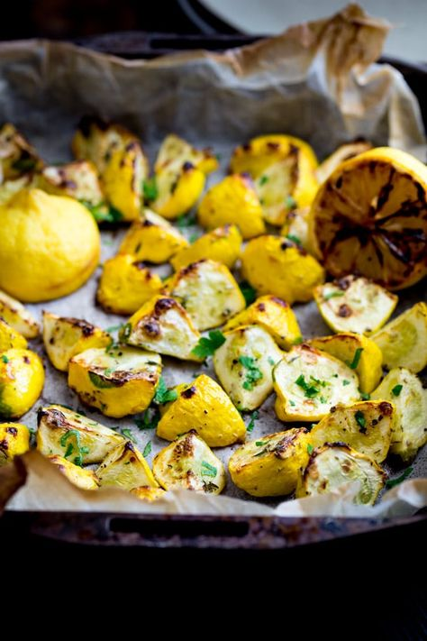 Roasted Summer Squash with Thyme and Charred Lemon   Sprinkles and Sprouts