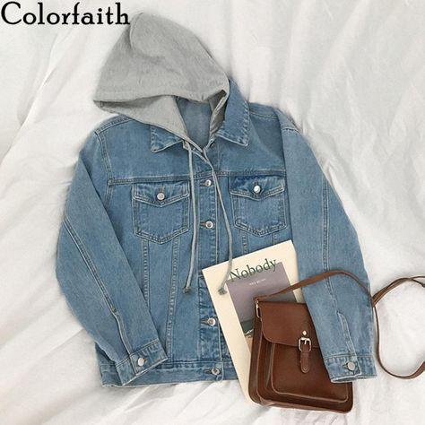 New 2021 Winter Spring Women Denim Jacket Outerwear Hooded High Street Fashionable Korean Style Jeans Tops JK8303 (Blue One Size)