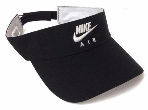 NIKE AIR SUN-VISOR Black Light-Gray Swoosh Golf Tennis Beach Hat Men Women  OSFM  Nike  Visor  tennisoutfit e57bee4c8cc