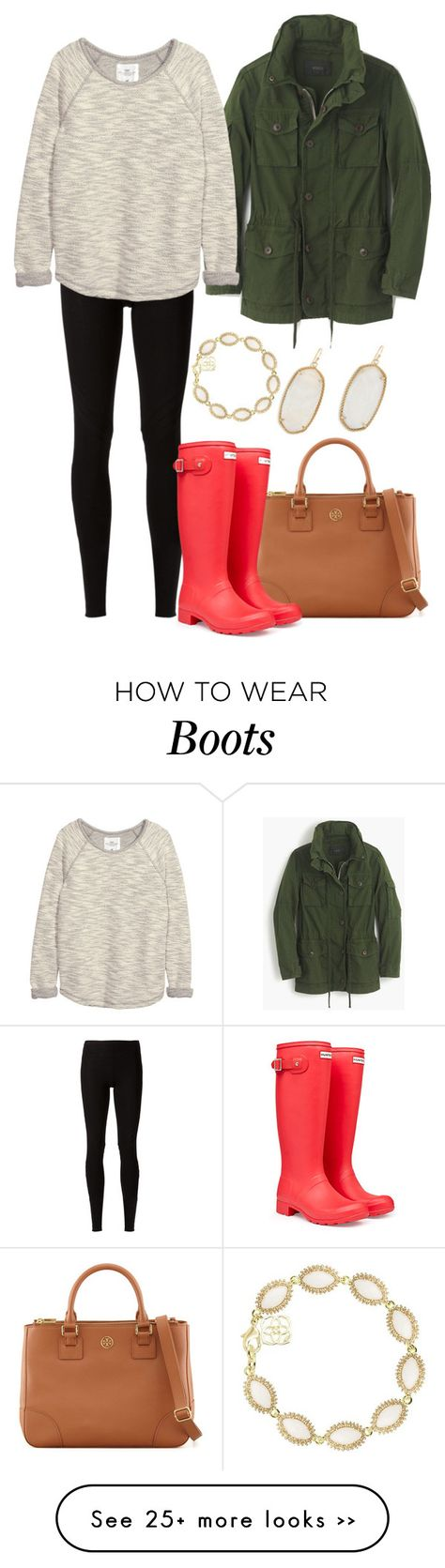 """""""Olive Green Jacket Pt. 2"""" by vineyard-vines-love on Polyvore featuring Rick Owens Lilies, Tory Burch, J.Crew, Hunter, H&M and Kendra Scott"""