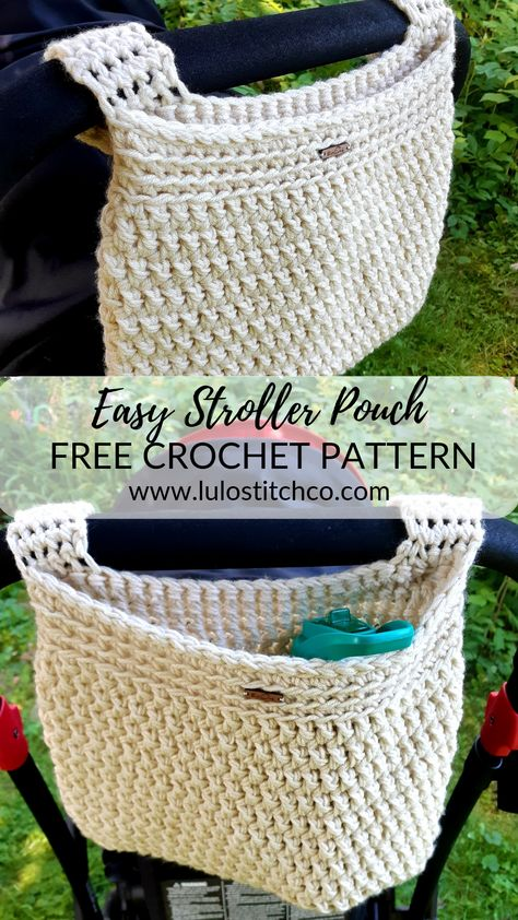 Easy Stroller Pouch & Free Crochet Pattern Work up this easy stroller pouch to keep your water, wallet and phone at the ready while you& out and about with the little ones. The post Easy Stroller Pouch & Free Crochet Pattern appeared first on Home. Crochet Pouch, Crochet Purses, Crochet Gifts, Crochet Baby Stuff, Crochet Diaper Bag, Crochet Home, Knit Crochet, Crochet Summer, Crochet Slippers
