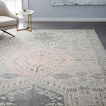 Distressed Medallion Rug Platinum Pink Blush Pink Bedroom