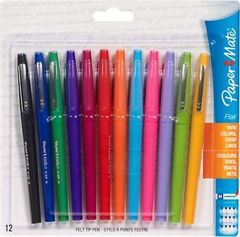 Paper Mate Point Guard Flair Needle Tip Stick Pen, Assorted Ink, .7mm